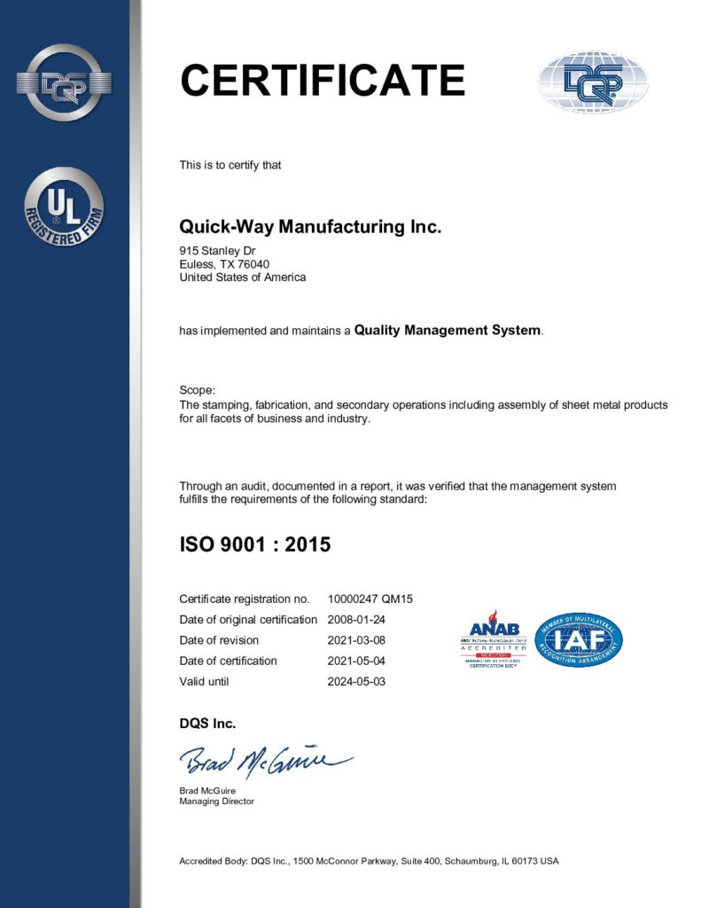 iso 9001 : 2015 certificate for quality management system